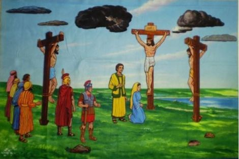 Groep 5 van de Klimophoeve bidt de kinderkruisweg